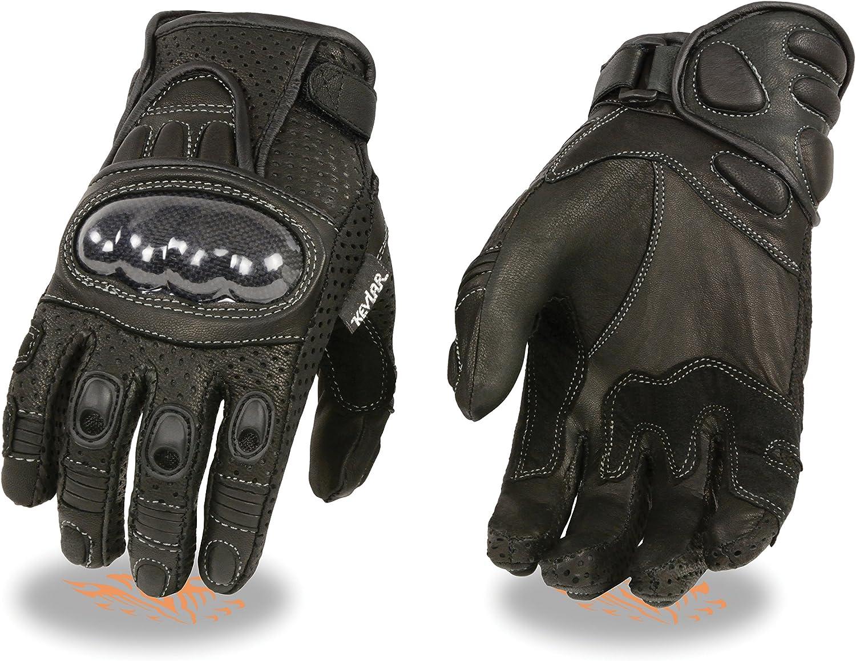 Milwaukee Leather Tout neuf Hommes Cour de course en cuir Moto Moto Gants Protection de coquille dure Small