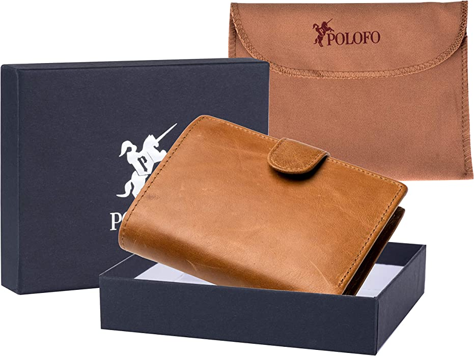 POLOFO Large Mens RFID Blocking Leather Wallet For Cards Notes Coin Pocket Brown