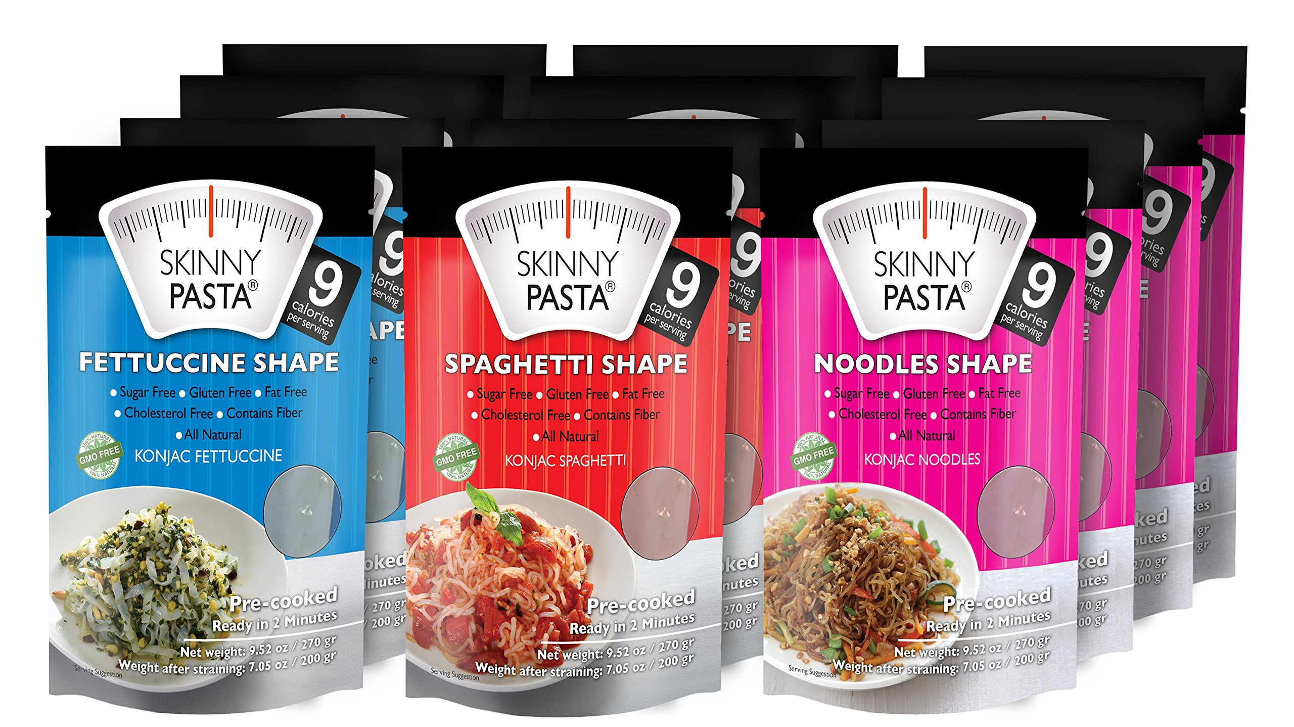 Skinny Pasta Italian Mix 9.52 oz (12 Pack) - The Only Odor Free 100% Konjac Noodle (Shirataki Noodles) - Pasta Weight loss - Low Calorie Food - Healthy Diet Pasta