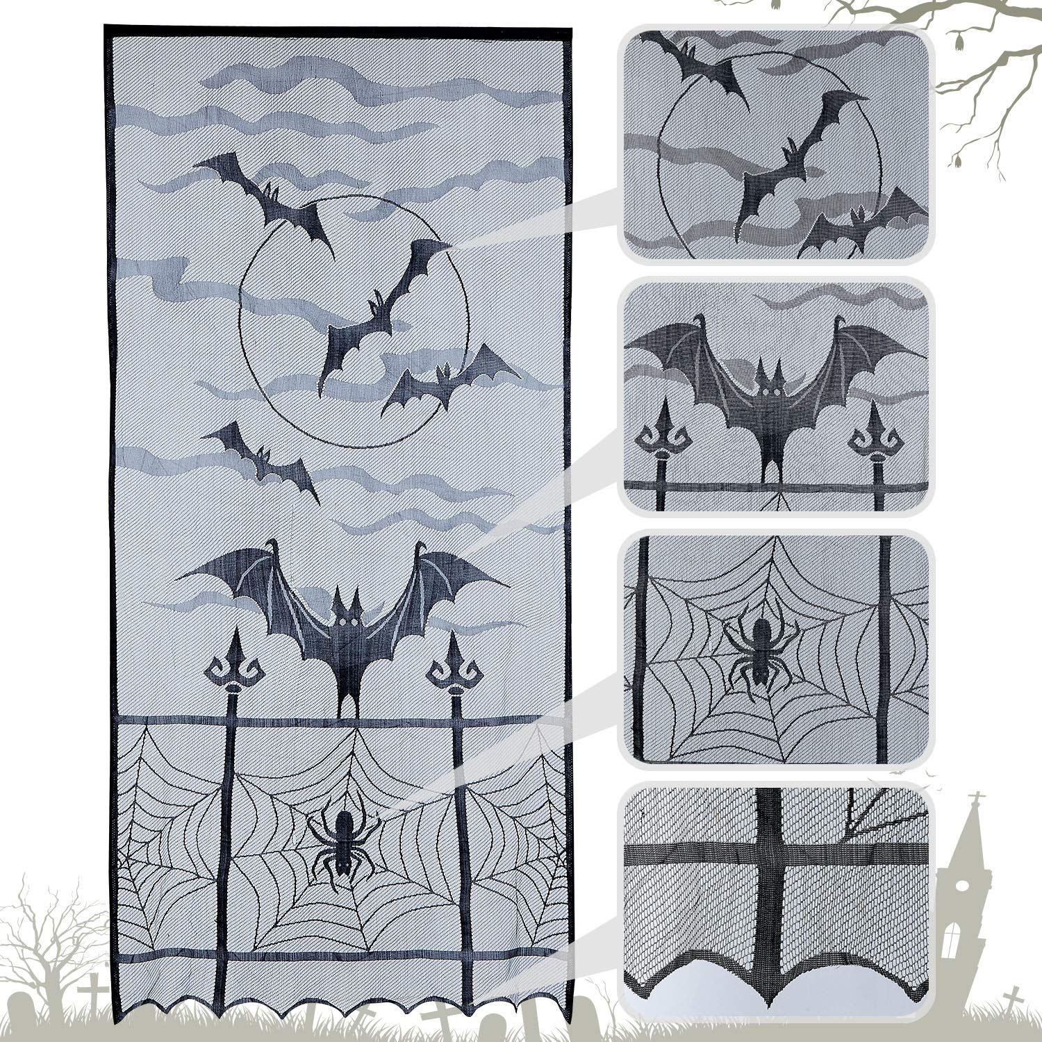 N/&T NIETING 1pcs Black Bats Halloween Lace Window Curtain,Spider Web Bats Door Curtain Panel Decor for Spooky Halloween Holiday Party Decoration,40x84 inch