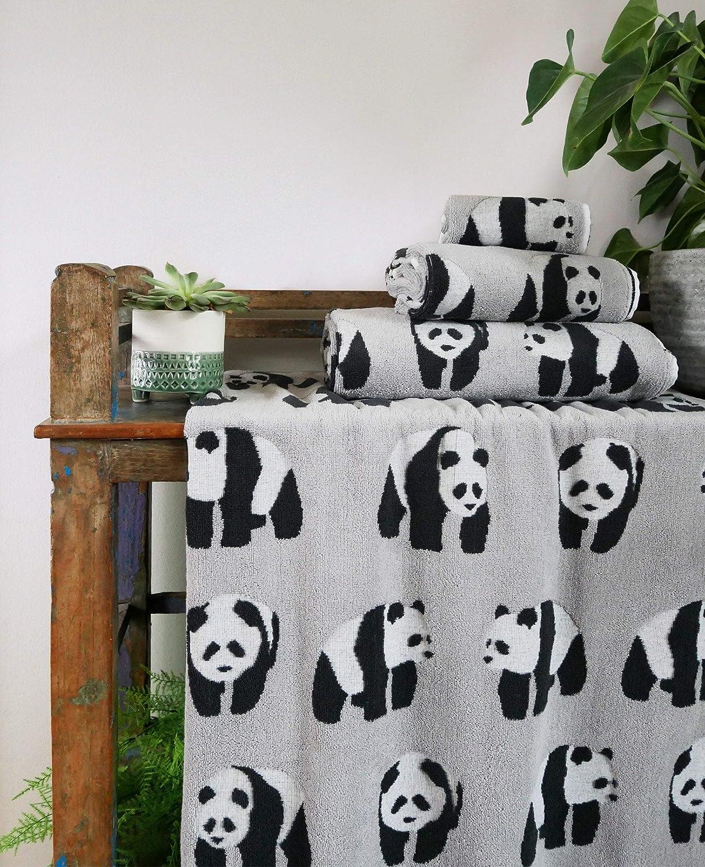 Grau und Wei/ß Badematte Anorak Pandas Badvorleger Schwarz 100 /% Bio-Baumwolle