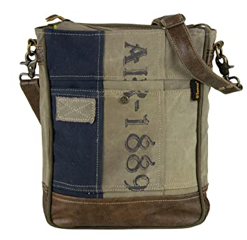 9fdcf34663723 Sunsa Damen Herren große Umhängetasche Schultertasche Crossbody Tasche  Canvastasche in retro Style Vintagetasche beige blau