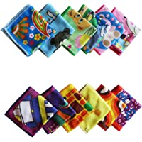 The Home Talk 9x9 inch, Printed Kids face Towel/Handkerchief, Best in Summer, Assorted Colour and Design.Super Soft Fabric for Birthday Gifting, kanjak