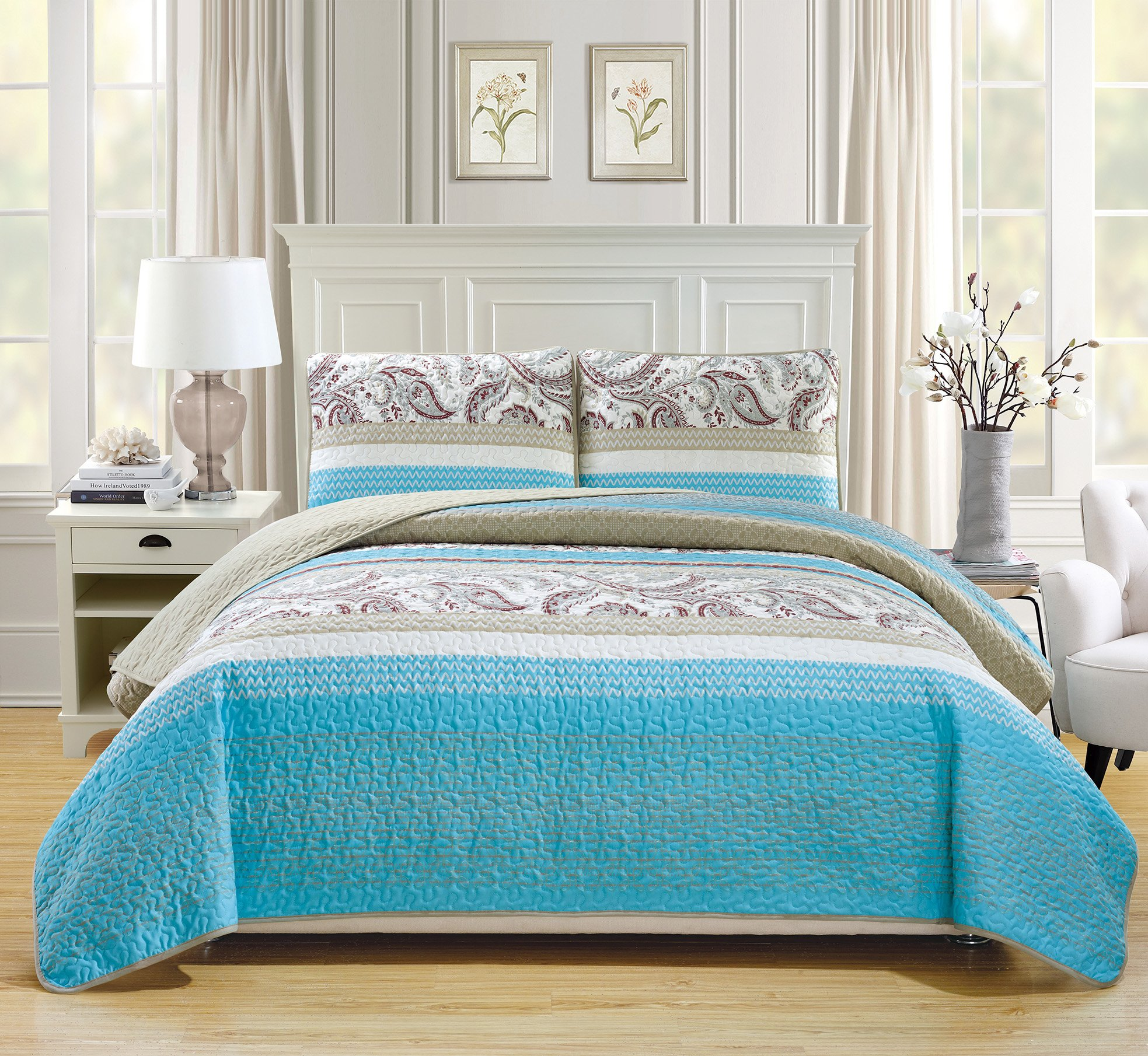 Mk Collection 3pc Bedspread coverlet quilted Floral Off White Turquoise Grey Taupe Burgundy King/California King Over Size 118'' x 95'' #Lisbon New 1