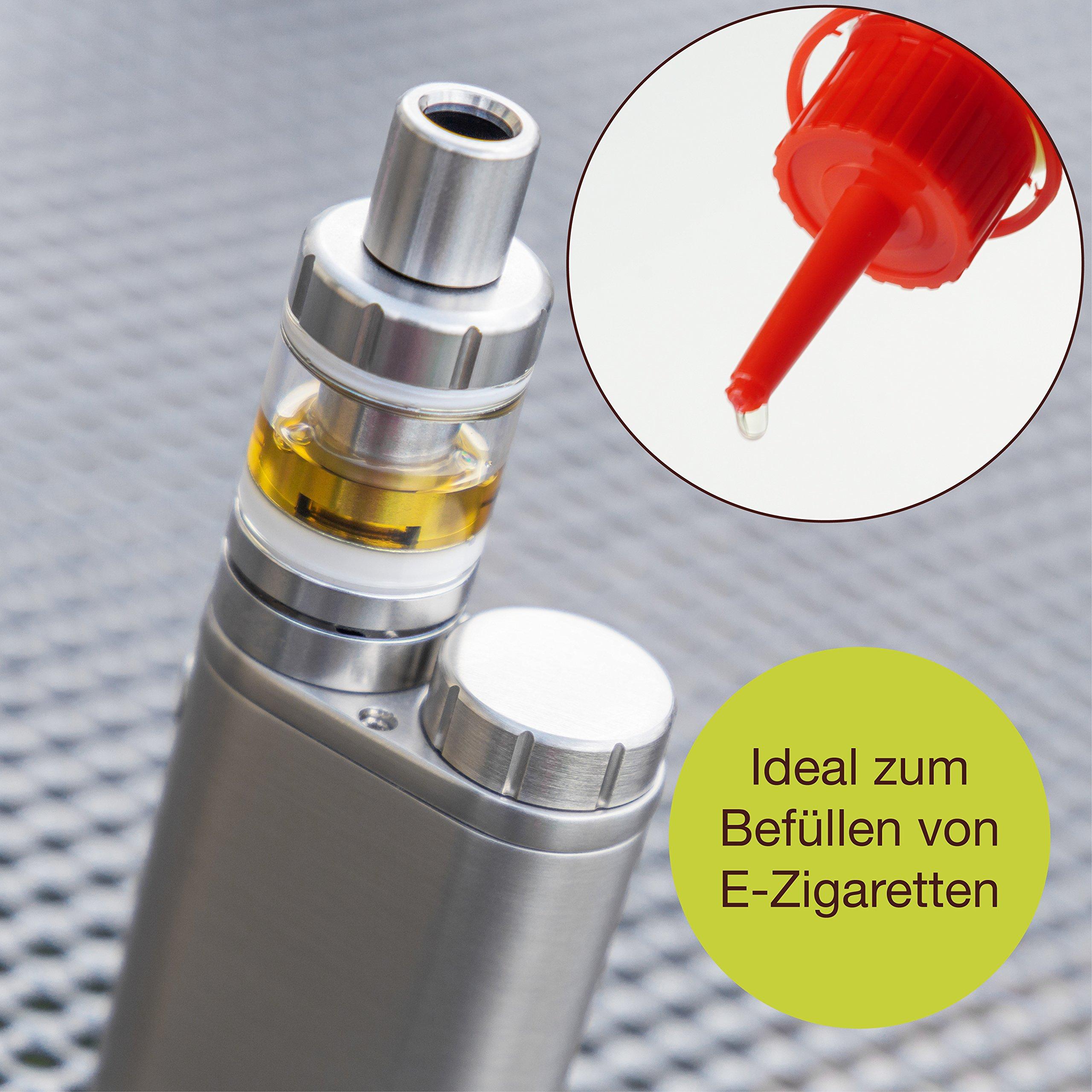 ProfessionalTree® Botellas para líquido con sistema de goteo 12x100 ml. Con embudo de medición - 12 etiquetas - Para conservar líquidos - Seguro para niños - Calidad LDPE