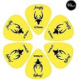 Mugig púas para guitarras con 50 Pcs de material delrin de color amarillo accesorios de guitarra (0.73mm × 50 )