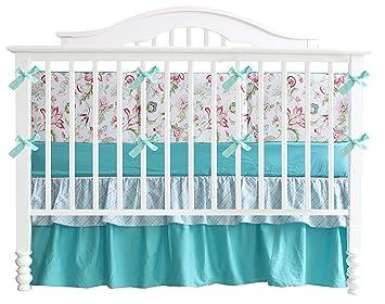 Amazon.com: Verde azulado flores 7pcs Crib Set Bebé Juego de ...
