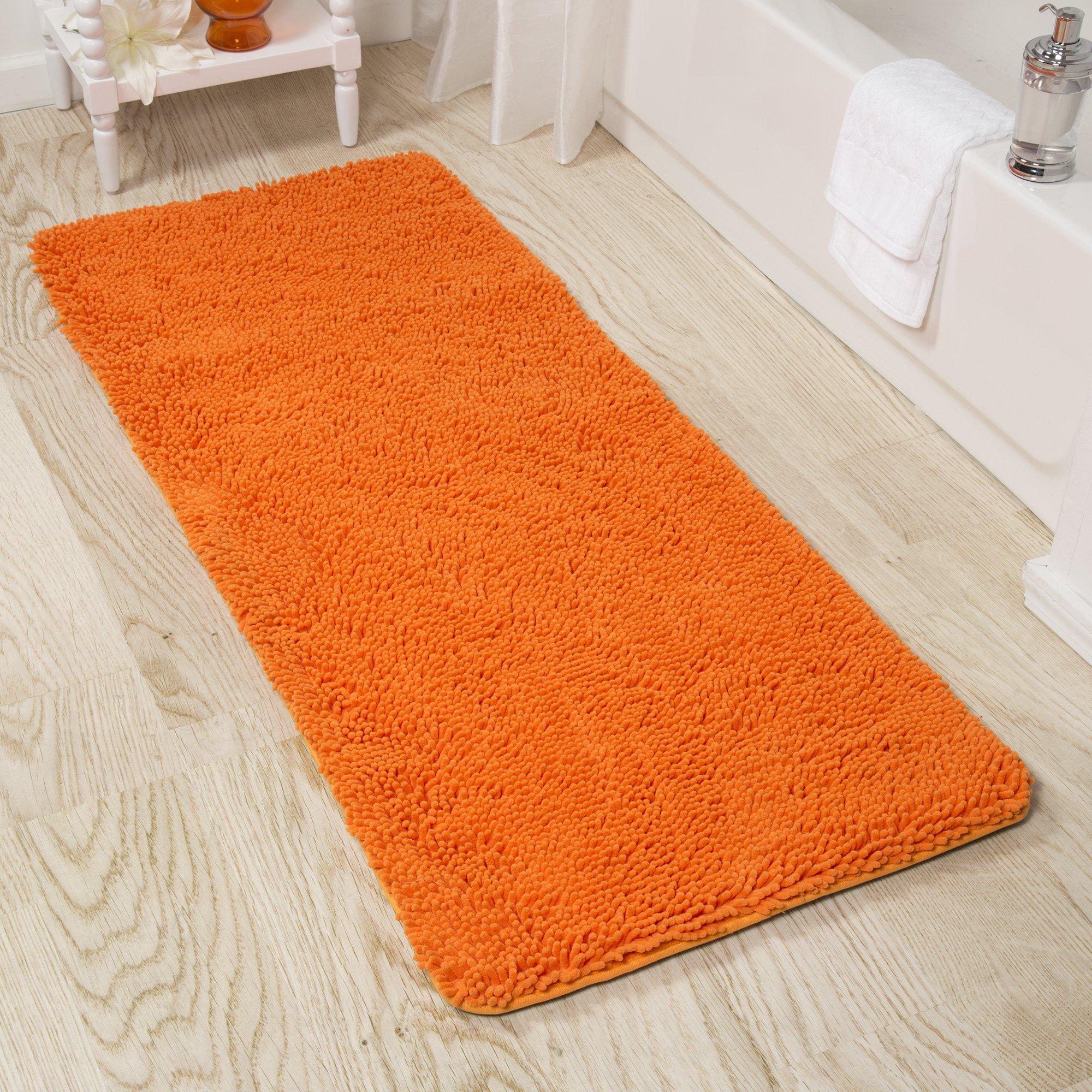 Lavish Home Memory Foam Shag Bath Mat 2-Feet by 5-Feet - Orange