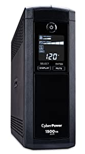 CyberPowerCP1500AVRLCD Intelligent LCD UPS System, 1500VA/900W, 12 Outlets, AVR, Mini-Tower