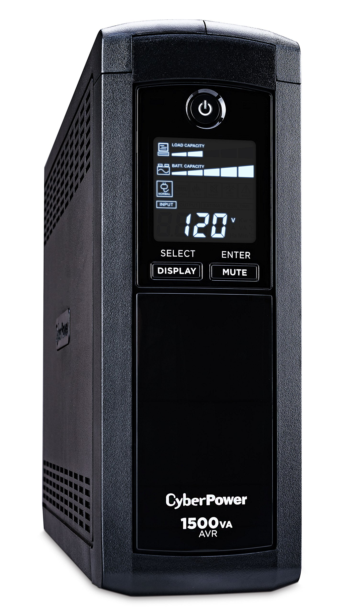 CyberPower CP150AVRLCD Intelligent LCD UPS System, 1500VA/900W, 12 Outlets, AVR, Mini-Tower