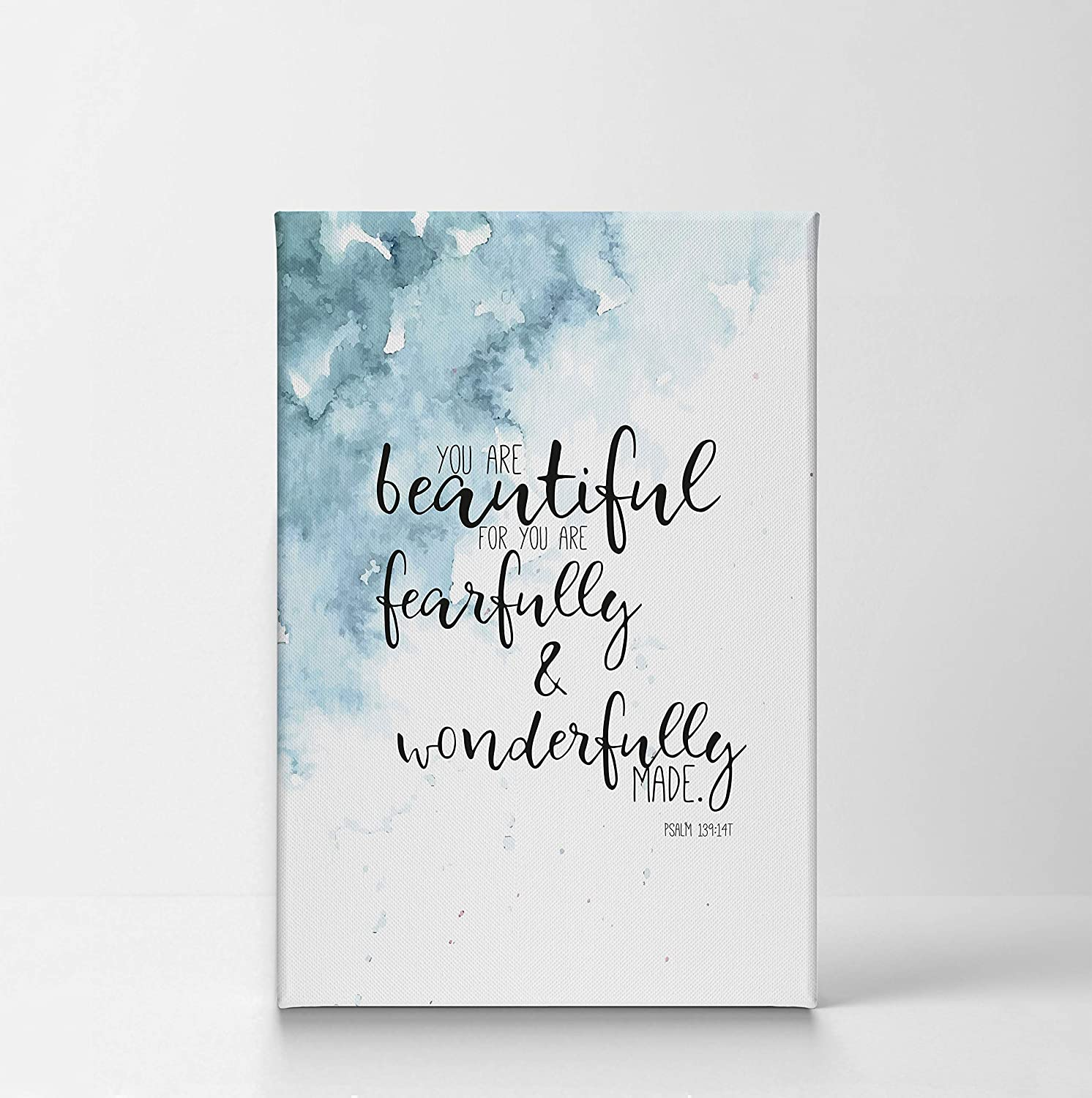 Psalm You are Beautiful for You are Fearfully and Wonderfully Made Quote Hand Lettering and Watercolor Paint Scripture Wall Art Bible Verse Canvas Print Home Decor Stretched Ready to Hang – 28×19