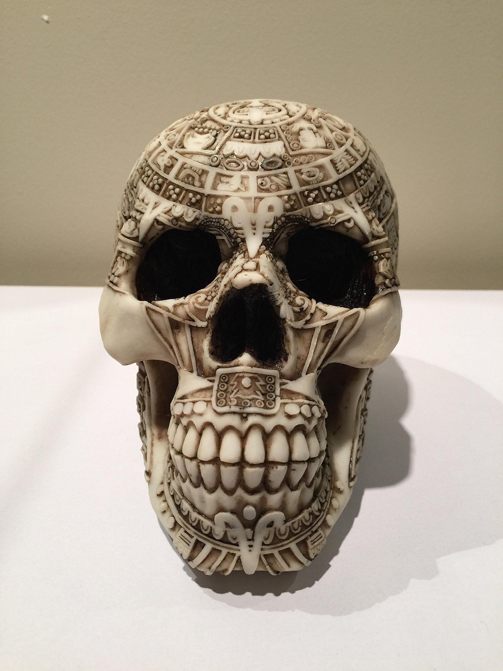 Pacific Giftware Aztec Meso America Skull Engraved with Aztec Motif Collectible Desktop Figurine Gift 6 inch