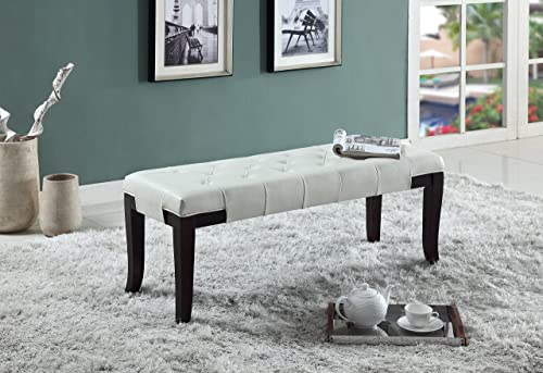 Roundhill Furniture Linon Leather Tufted Ottoman Bench
