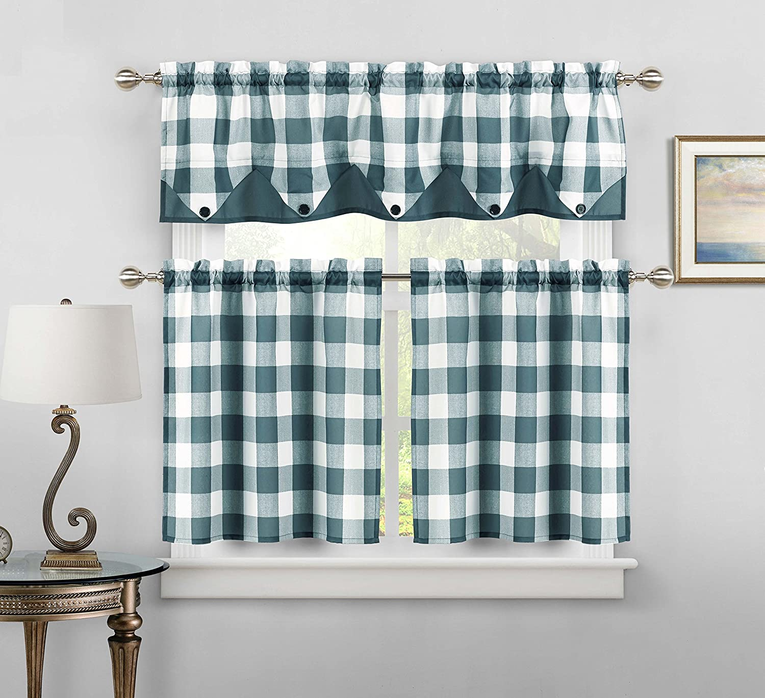 Sheer Small Taupe and White Three Piece Kitchen/Cafe Tier Window Curtain  Set Gingham Check Pattern, 1 Valance, 2 Tiers 24inch L (Taupe and White)