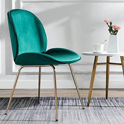 Art Leon Velvet Chair Soft Upholstered Modern Shell Beetle Leisure Chair with Gold Legs for Living Dining Room Bedroom Dresser (Teal Green)