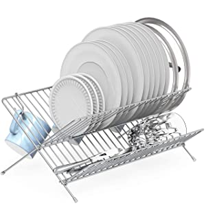 SimpleHouseware Collapsible Dish Drying Rack, Chrome