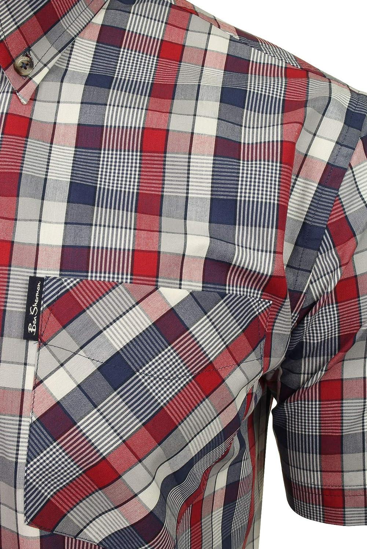 Ben Sherman Mens Ss Textured Check Shirt Casual
