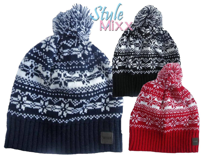 ed7703c9acf STYLE MIXX Mens Ladies Fair Isle New York Bobble Beanie Hat Wooly Knitted  Ski Pom Pom Hat (BLACK FAIRISLE)  Amazon.co.uk  Clothing