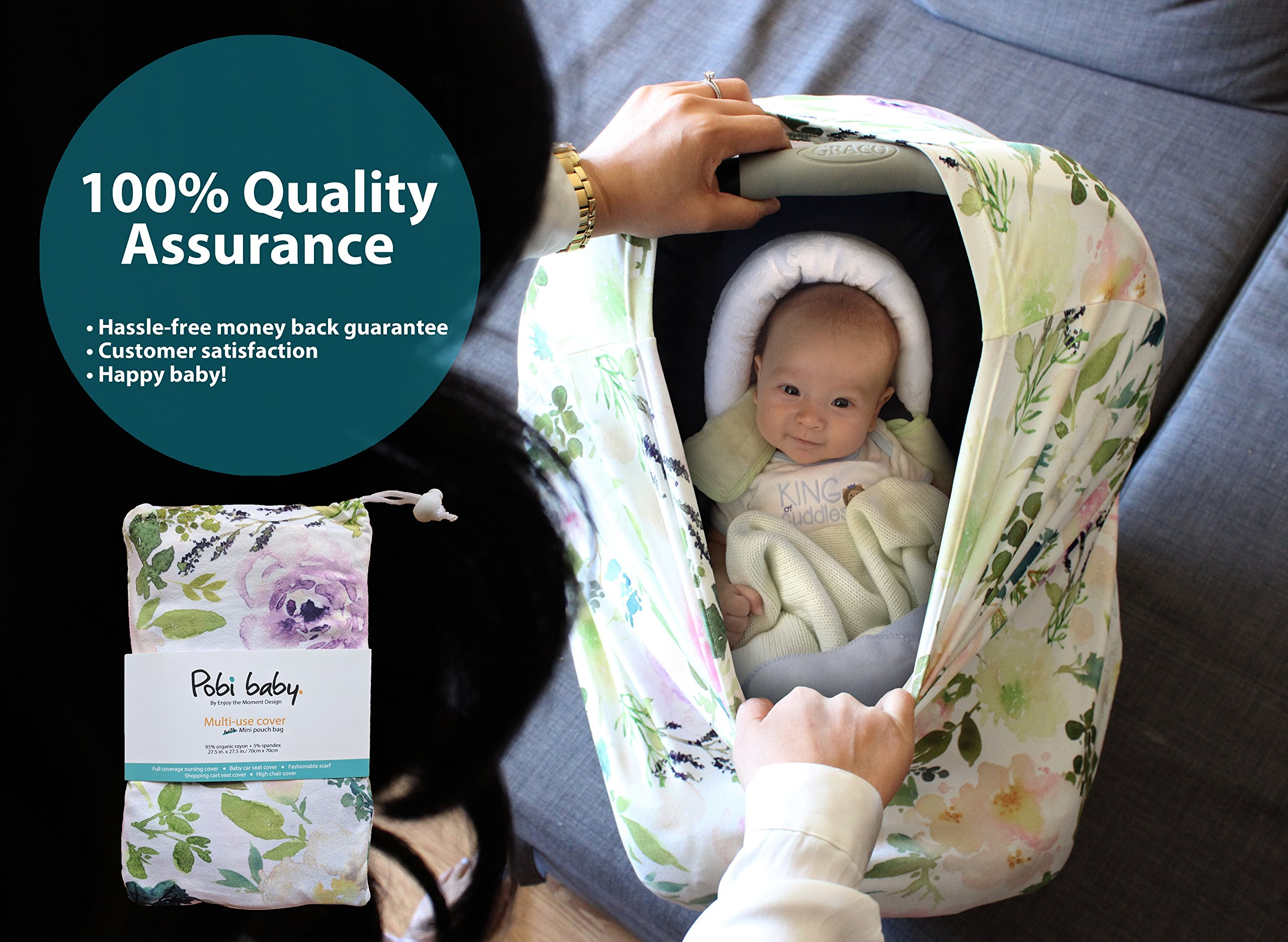 Premium Soft, Stretchy, and Spacious 4 in 1 Multi-Use Cover for Nursing, Baby Car Seat, Stroller, Scarf, and Shopping Cart - Best Gifts by Pobibaby (Allure) by Pobibaby (Image #8)