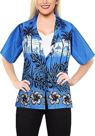 Blusas botón de la Camisa Hawaiana a Las Mujeres Desgaste de la Playa de Manga Corta Traje de baño Azul: Amazon.es: Ropa y accesorios