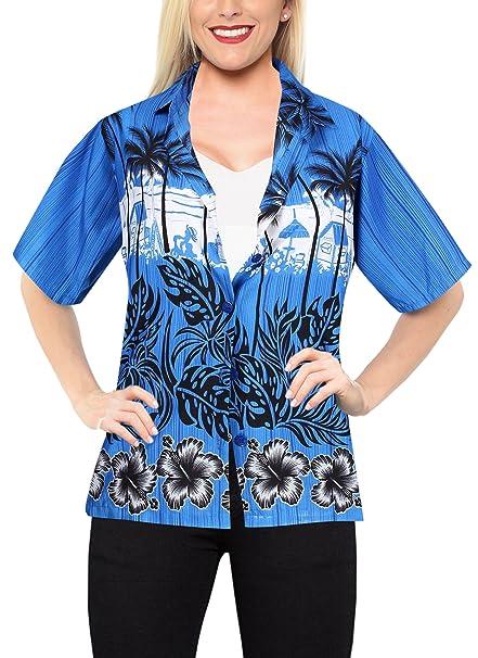 Manga Corta del botón hasta Blusas Camisa Hawaiana de la Playa del Traje de baño de