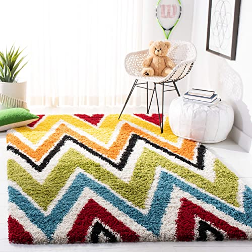 Safavieh Kids Shag Collection SGK567A Ivory and Multi Area Rug 8 x 10