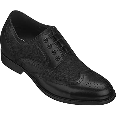 CALTO Men's Invisible Height Increasing Elevator Shoes - Black Premium Leather Lace-up Wing-tip Formal Derby Oxfords - 3 Inches Taller | Oxfords