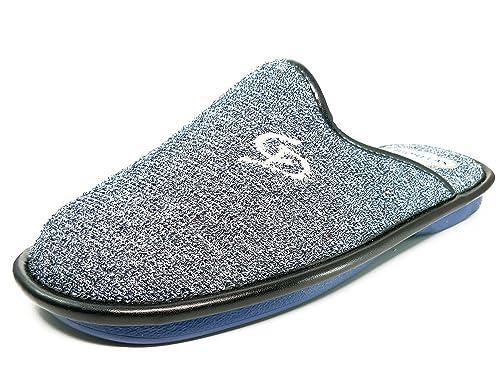 Zapatilla hombre de andar por casa marca BIORELAX, lona rizo color azul marino - 1460 - 12: Amazon.es: Zapatos y complementos