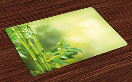 Ambesonne Spa Place Mats Set Of 4 Green Beautiful Lush Asian Bamboos With Other Tree