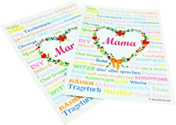 MAMA A6 Muttertag 2 Postkarten Geburt Druck Geschenk Babyshower Babyparty Hochzeit Mothersday Danke Mitbringsel Schwiegermutter