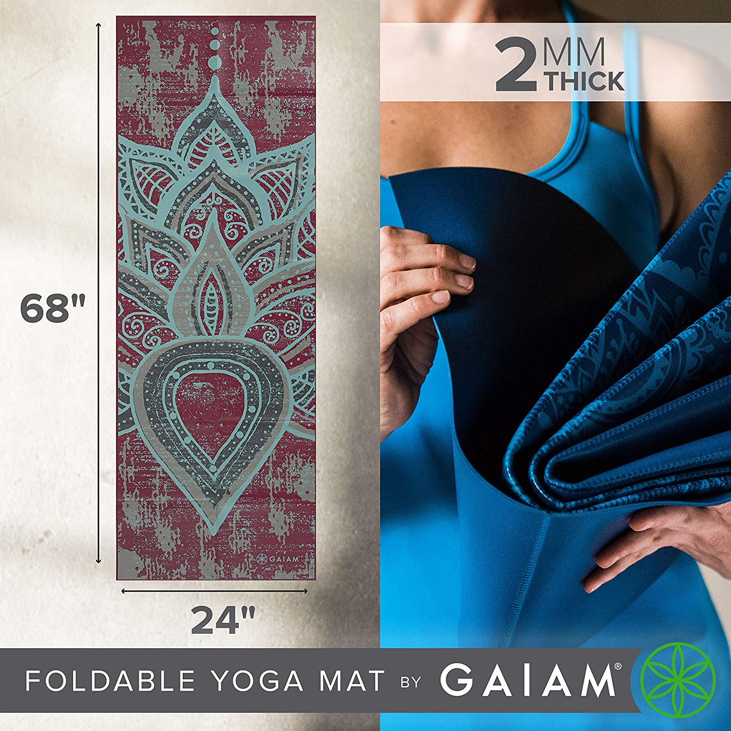 06ade30d79a Amazon.com : Gaiam Foldable Yoga Mat, Be Free, 2mm : Sports & Outdoors
