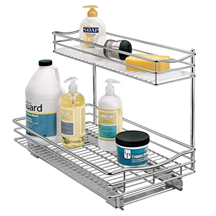 Lynk Professional Professional Sink Cabinet Organizer With Pull Out Two Tier Sliding Shelf 11 5wx 18d X 14h Inch Chrome