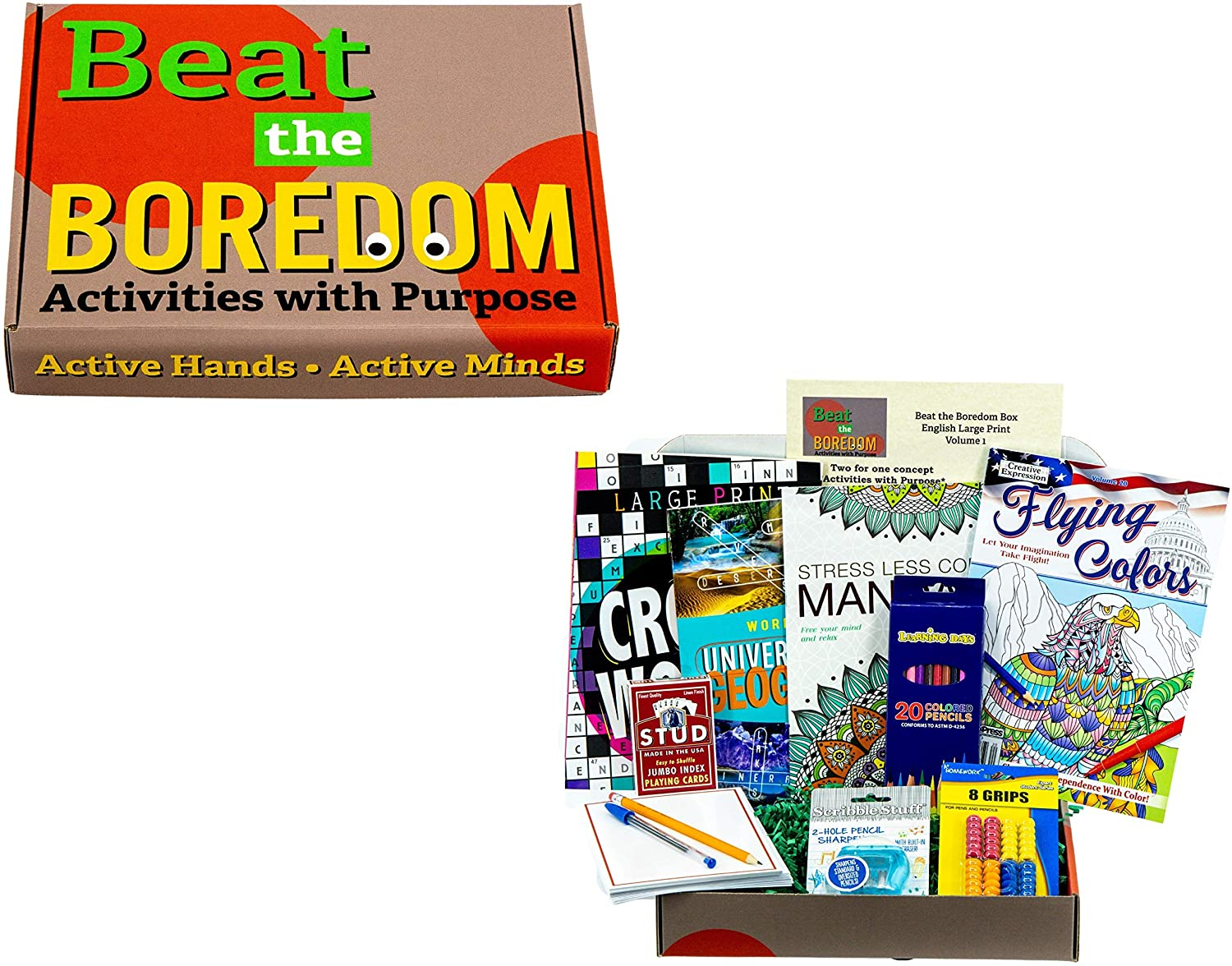 Beat the Boredom Box - Activities with Purpose - Senior Large Print Gift Basket Crossword Word Find & Coloring Books + Playing Cards & Note Cards