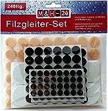 M&H-24 Set 248 Patins autocollants Tampon auto-adhésif en feutre pour pied meuble, chaise, table - Plusieurs formes Rond