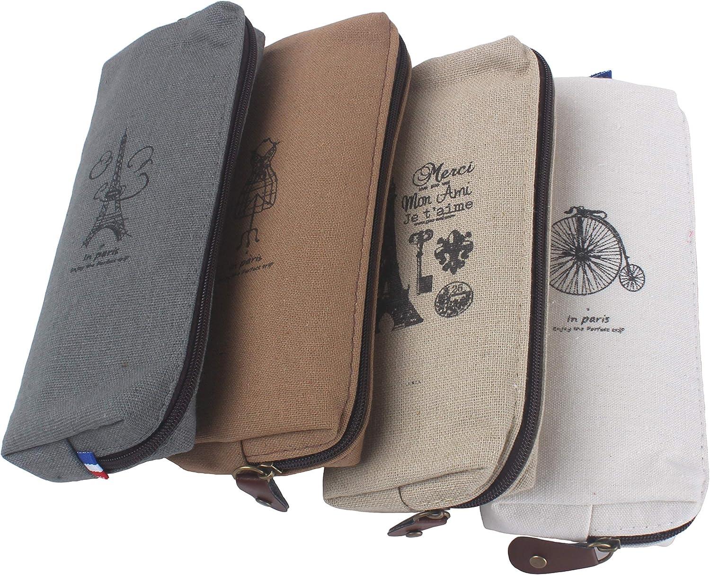 Paris Memories - Juego de 4 estuches de lona pastorable para lápices, estuches de papelería: Amazon.es: Hogar
