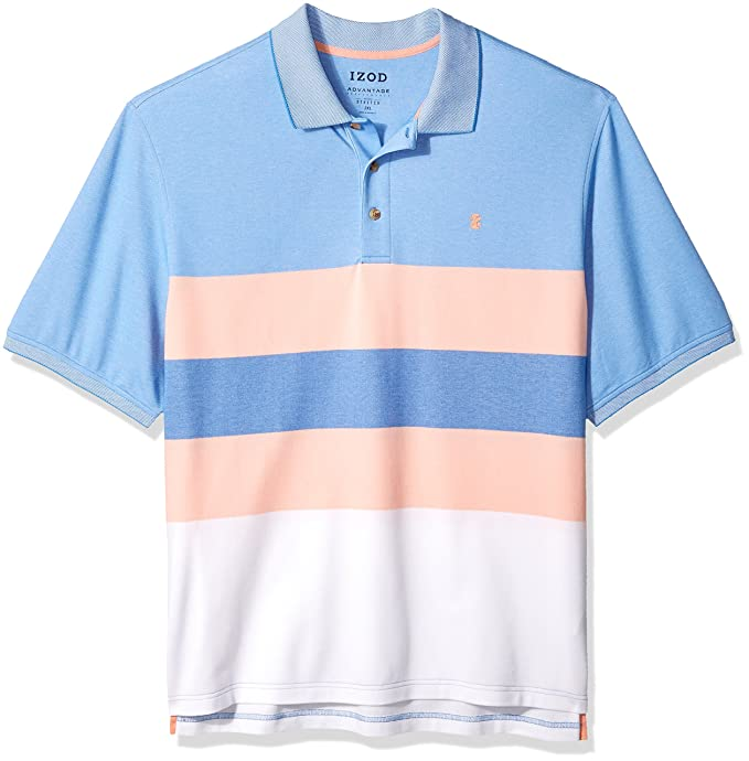 9affc603 Izod Men's Big and Tall Advantage Performance Short Sleeve Colorblock Polo,  45X7470/papaya Punch