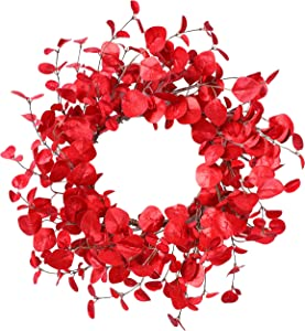 YNYLCHMX Artificial Christmas Wreath for Front Door, Door Wreath Flushed with Red Eucalyptus Leaves, Home Decor for Indoor, Windows, Wall, Fireplace, Holiday, Party Decoration, 20 Inch