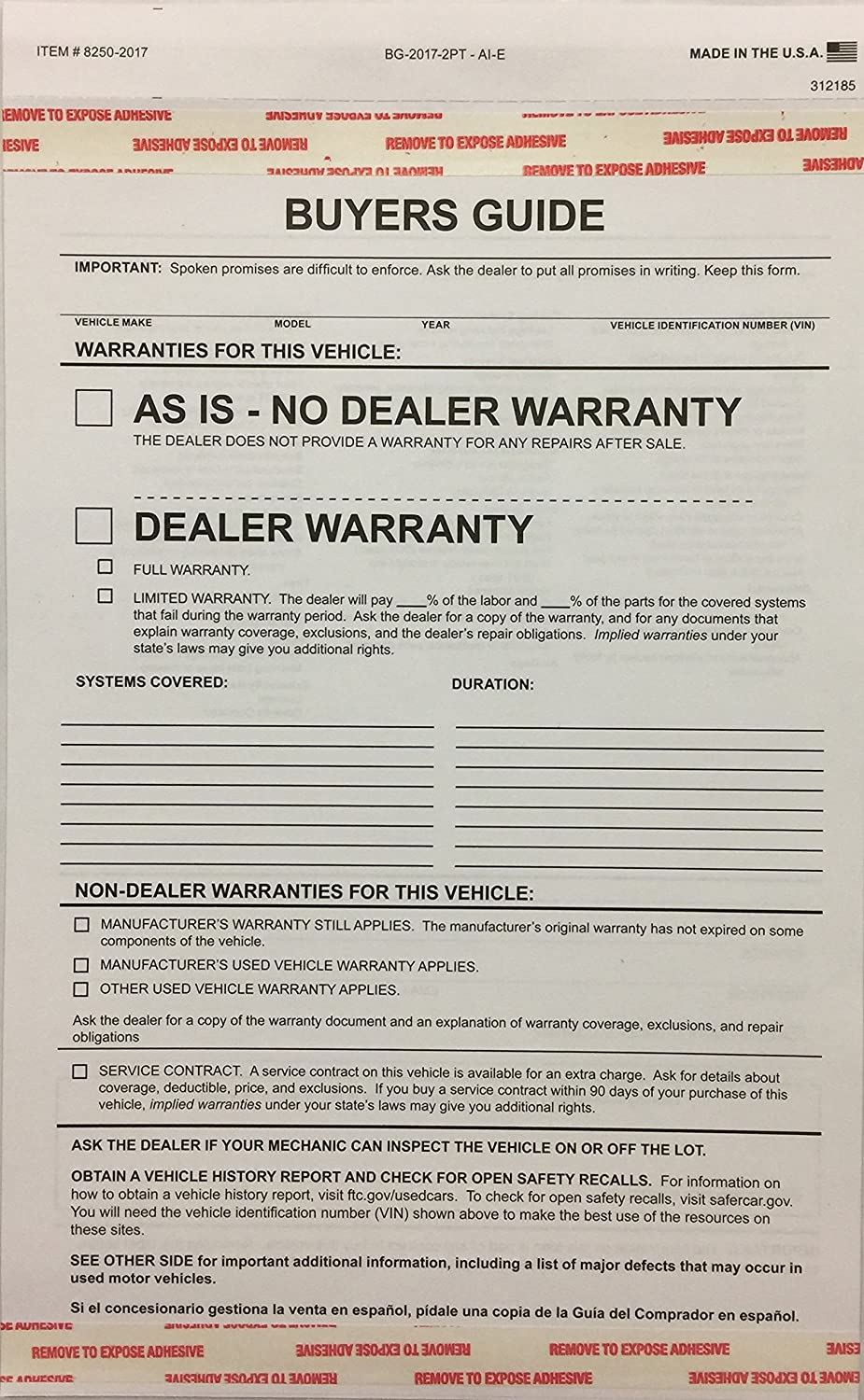 2-part Buyers Guide Form - Adhesive Tape - English - As Is - Warranty (100 Per Pack)