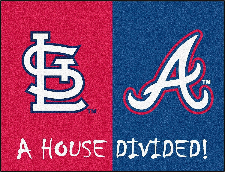 "MLB House Divided - Cardinals/Braves Rug, 34"" x 45""/Small, Black"