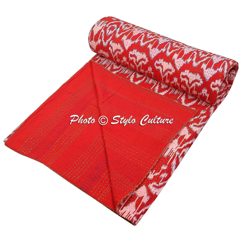 Stylo文化ベッドスプレッドエスニックインドKanthaプリントコットン装飾Ikat Coverletクイーンサイズレッド B01NBDC5EP