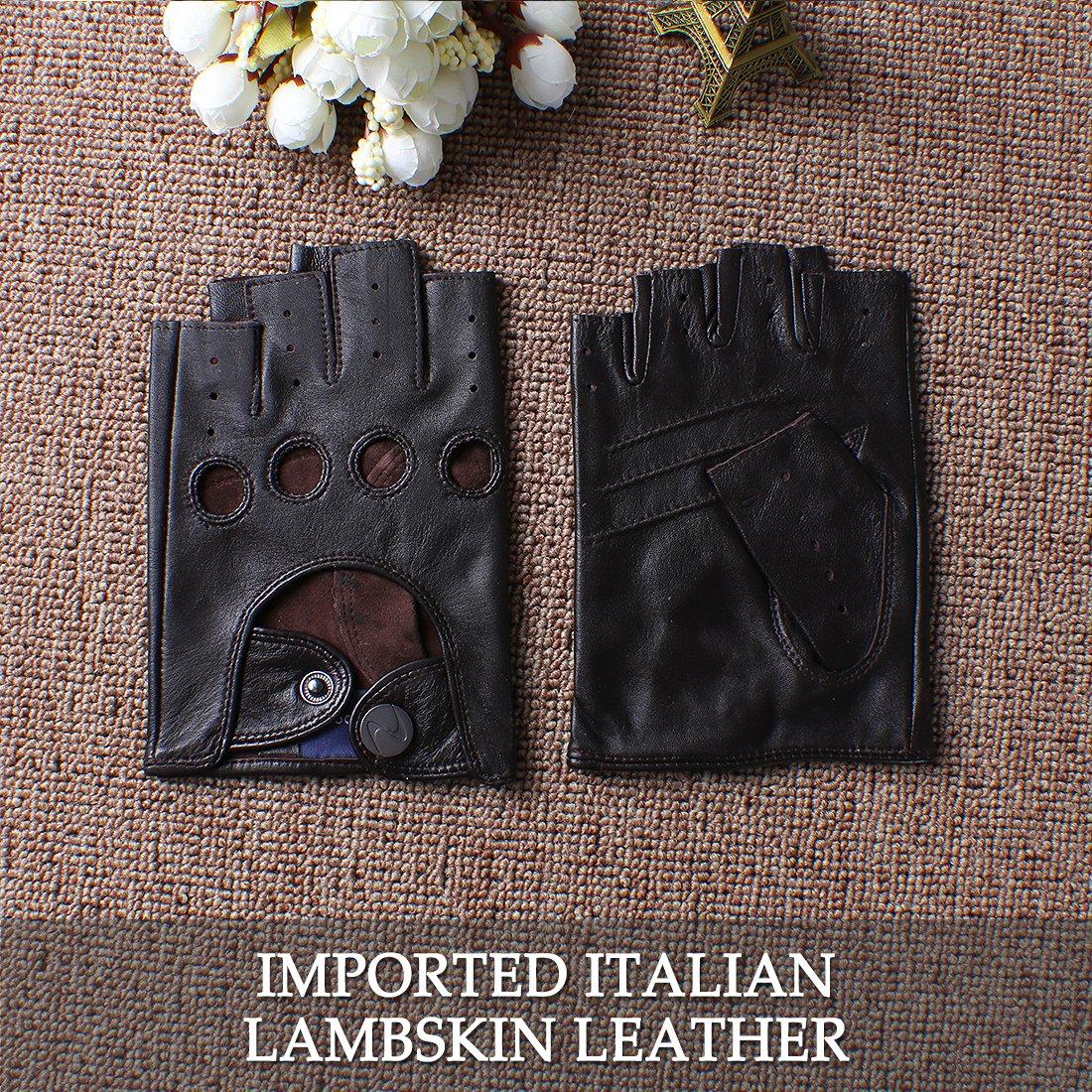 Nappaglo dhomme en cuir italien de la conduite sans gants gants de moto du doigt les doigts du