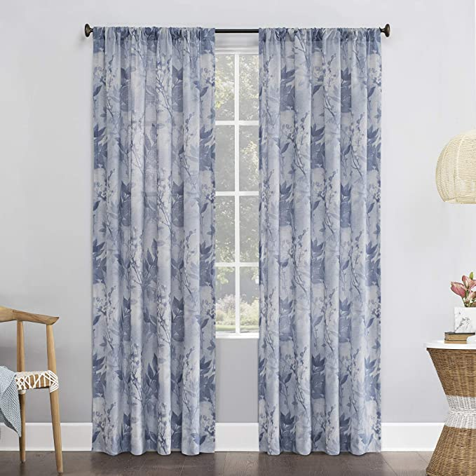 No 918 Hilary Watercolor Floral Linen Blend Semi Sheer Rod Pocket Curtain Panel 54 X 84 Blue Home Kitchen
