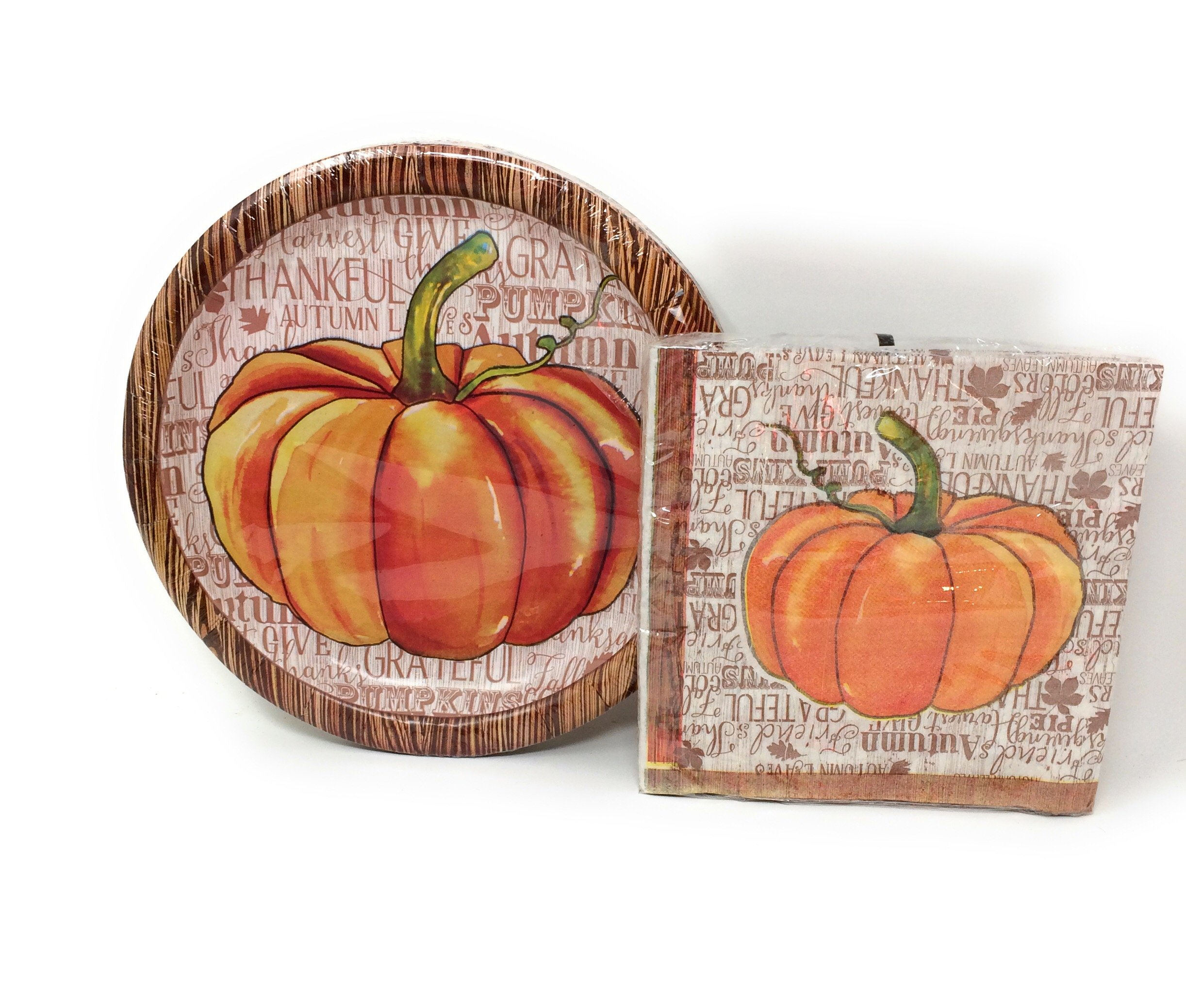 Autumn Harvest Thanksgiving (Pumpkin) Decorative Paper Plates and Napkin Set  sc 1 st  eBay & Autumn Harvest Thanksgiving (Pumpkin) Decorative Paper Plates and ...