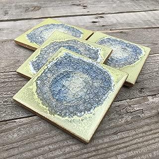 product image for Geode Crackle Coaster Set of 4 in Pea Soup, Geode Coaster, Crackle Coaster, Fused Glass Coaster, Crackle Glass Coaster, Agate Coaster, Ceramic Coaster, Dock 6 Pottery Coaster