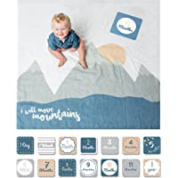 Lulujo Baby's 1st Year I Will Move Mountains Blanket and Card Set, Blue/White/Grey/Pink