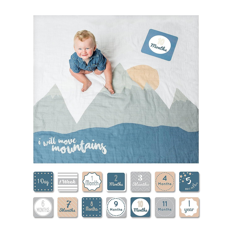 Baby Milestone Tarjetas y conjunto de manta Voy a mover las monta/ñas Lulujo Baby