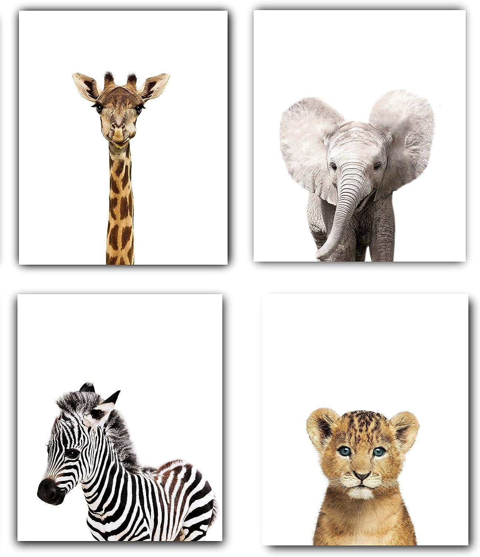 Safari Animals Print Set of 4 Nursery Wall Art Decor Kids Room Posters No Frame