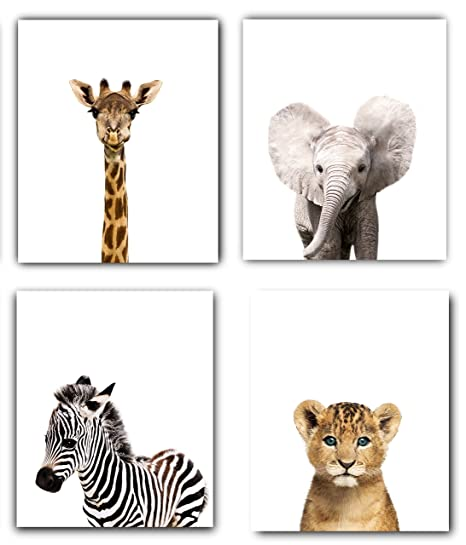 Safari Baby Animals Nursery Decor Art