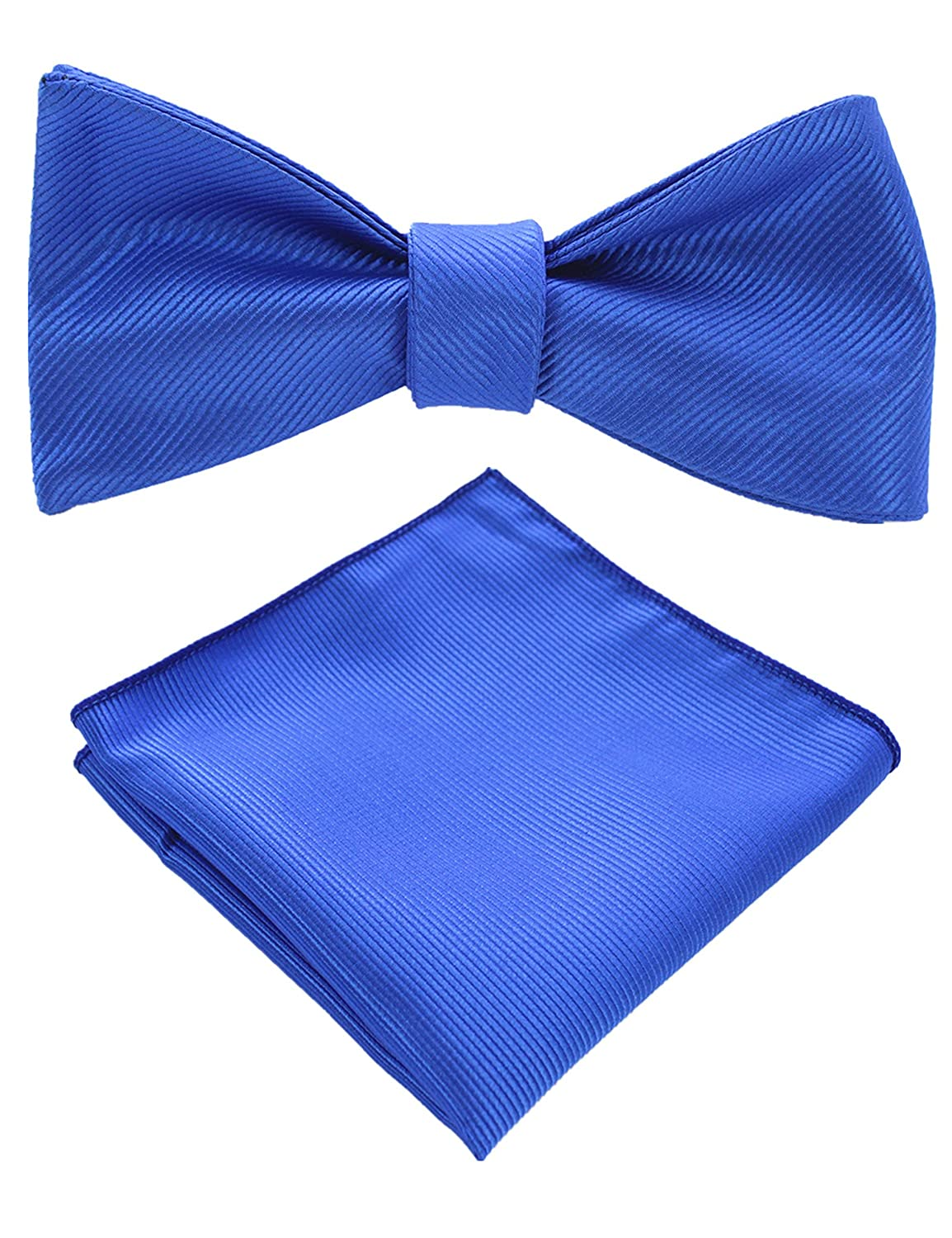 10 Colors JEMYGINS Mens Formal Bowtie Solid Self Tie Bow Tie and Pocket Square Set
