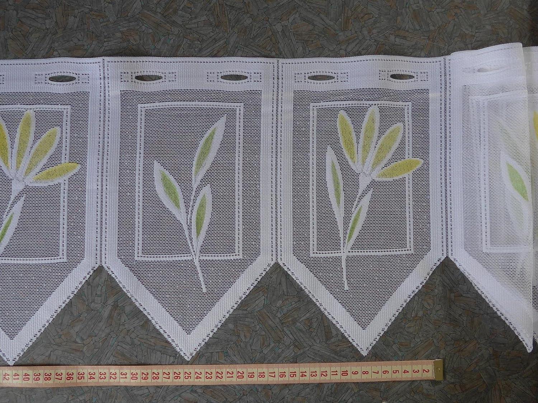 Scheibengardinenstoff Bl/üten bedruckt gr/ün gelb 30cm hoch